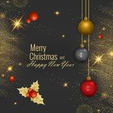 Tarjeta 2018, ejemplo de felicitación de la Feliz Navidad y de la Feliz Año Nuevo del vector libre illustration