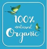 Tarjeta el 100% natural orgánica Cartel, vector de los logotipos Fotografía de archivo libre de regalías