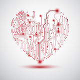 Tarjeta eléctrica del corazón Foto de archivo libre de regalías