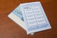 Tarjeta electoral francesa después en fondo de madera Fotografía de archivo libre de regalías