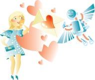 Tarjeta electrónica de la tarjeta del día de San Valentín Imagen de archivo libre de regalías