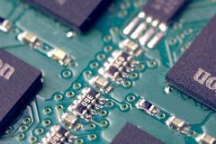 tarjeta electrónica Pequeña profundidad del campo Llamarada de la lente Colorize Ima fotografía de archivo libre de regalías