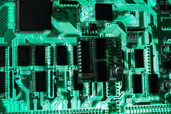 Tarjeta electrónica verde Foto de archivo