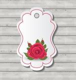Tarjeta elegante con la rosa del rojo para Valentine Day Foto de archivo