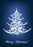Tarjeta elegante del árbol de navidad en azul Foto de archivo libre de regalías