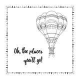 Tarjeta emocional con el globo del aire caliente y refranes sobre viaje Imagenes de archivo