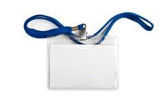 Tarjeta en blanco blanca de la identificación del plástico de la identificación de la insignia Fotos de archivo libres de regalías