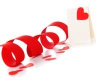 Tarjeta en blanco con el corazón rojo Foto de archivo