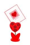 Tarjeta en blanco con el corazón rojo Imágenes de archivo libres de regalías