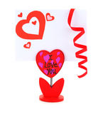 Tarjeta en blanco con el corazón rojo Imagen de archivo libre de regalías