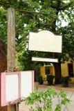 Tarjeta en blanco de la muestra del restaurante Imagenes de archivo