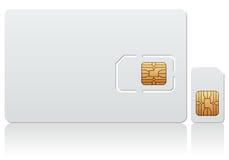 Tarjeta en blanco de SIM Imágenes de archivo libres de regalías