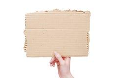 Tarjeta en blanco del asimiento de la mano fotos de archivo