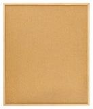 Tarjeta en blanco del corcho con el marco de madera aislado en blanco Fotografía de archivo