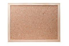 Tarjeta en blanco del corcho con un marco de madera aislado Imagen de archivo