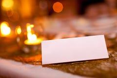 Tarjeta en blanco del lugar en una boda Foto de archivo