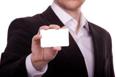 Tarjeta en blanco en una mano Fotografía de archivo libre de regalías