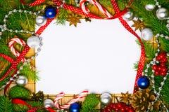 Tarjeta en blanco para los saludos de la Navidad Fotos de archivo libres de regalías