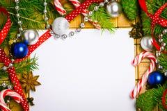 Tarjeta en blanco para los saludos de la Navidad Fotografía de archivo