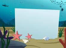 Tarjeta en blanco subacuática Imágenes de archivo libres de regalías