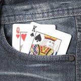 Tarjeta en bolsillo de la mezclilla Imágenes de archivo libres de regalías