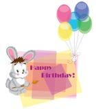 Tarjeta en cumpleaños con una liebre. Fotos de archivo libres de regalías