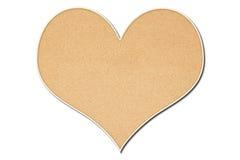 Tarjeta en forma de corazón del corcho Fotografía de archivo libre de regalías