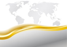 Tarjeta en plata y oro con el globo Libre Illustration