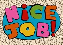 Tarjeta en un estilo cartoonish mínimo, plantillas del vector Trabajo agradable Imagen de archivo libre de regalías