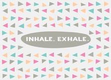 Tarjeta en un estilo mínimo, plantillas del vector inhale exhale Imágenes de archivo libres de regalías
