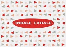 Tarjeta en un estilo mínimo, plantillas del vector inhale exhale Foto de archivo libre de regalías