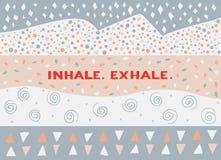 Tarjeta en un estilo mínimo, plantillas del vector inhale exhale Foto de archivo