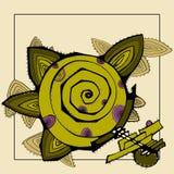 Tarjeta en un fondo beige con flo verde abstracto Imagen de archivo libre de regalías