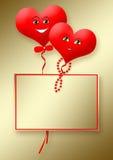 Tarjeta en un fondo del oro con dos corazones Stock de ilustración
