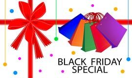 Tarjeta especial de Black Friday con los panieres Imagen de archivo libre de regalías