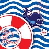 Tarjeta estacional divertida con la ballena azul en fondo rayado Lifeb Imagen de archivo