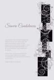 Tarjeta fúnebre del vector con adorno floral abstracto Fotografía de archivo