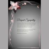 Tarjeta fúnebre del vector más profundo de la condolencia con adorno floral abstracto elegante Imágenes de archivo libres de regalías