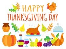Tarjeta feliz coloreada del día de la acción de gracias stock de ilustración