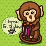 tarjeta Feliz cumpleaños Mono Fotografía de archivo libre de regalías