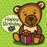 tarjeta Feliz cumpleaños Oso Fotos de archivo libres de regalías