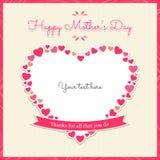 Tarjeta feliz de la bandera del día de madres con el corazón stock de ilustración
