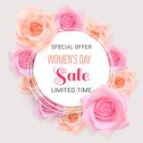 Tarjeta feliz de la venta del día de las mujeres con las rosas libre illustration