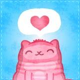 Tarjeta feliz de las tarjetas del día de San Valentín. Gato lindo con el corazón. stock de ilustración