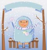 Tarjeta feliz de las vacaciones de invierno del yeti Fotografía de archivo libre de regalías