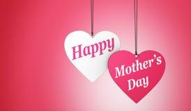 Tarjeta feliz de los corazones del día de madres Fotografía de archivo