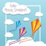 Tarjeta feliz de Makar Sankranti con las cometas Imagen de archivo