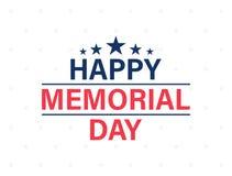 Tarjeta feliz de Memorial Day Día de fiesta americano nacional Cartel o bandera festivo con las letras de la mano Ilustración del stock de ilustración