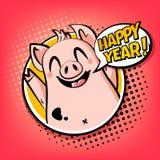 Tarjeta feliz del año con el cerdo en nube del marco y del texto Saludo del cartel en estilo de los tebeos ilustración del vector