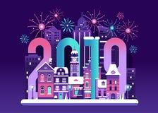 Tarjeta feliz del Año Nuevo 2019 libre illustration